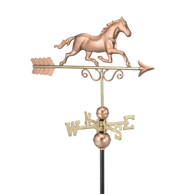 galloping horse weathervane - polished copper (1974p)