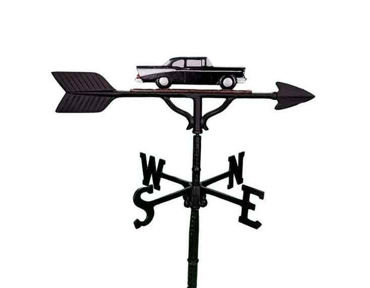 aluminum black & white antique car weathervane (wv-213-bwc)