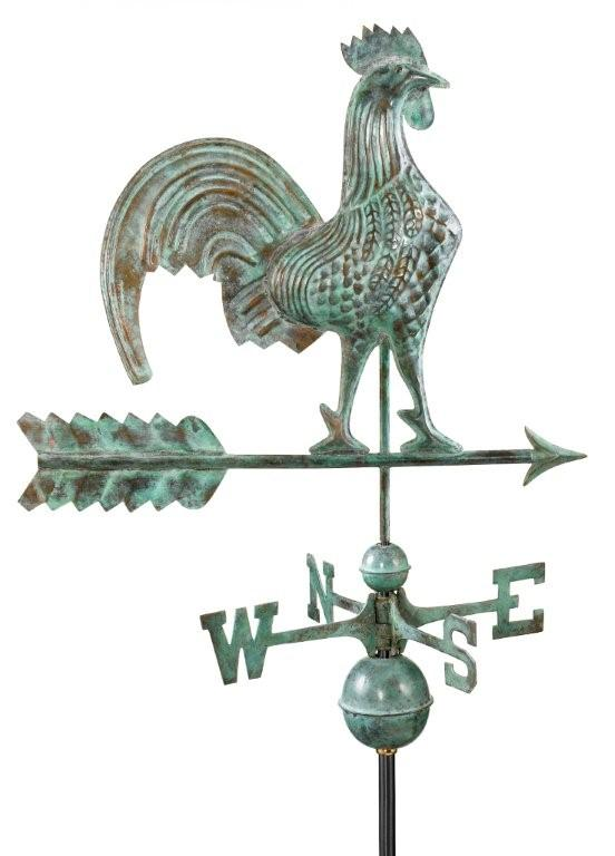"25"" rooster weathervane - blue verde copper (501v1)"