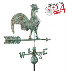 "25"" rooster weathervane - blue verde copper (501v1) with 24 hour ship logo"