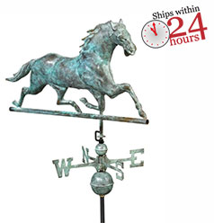 blue verde copper horse weathervane with small ships within 24 hours logo