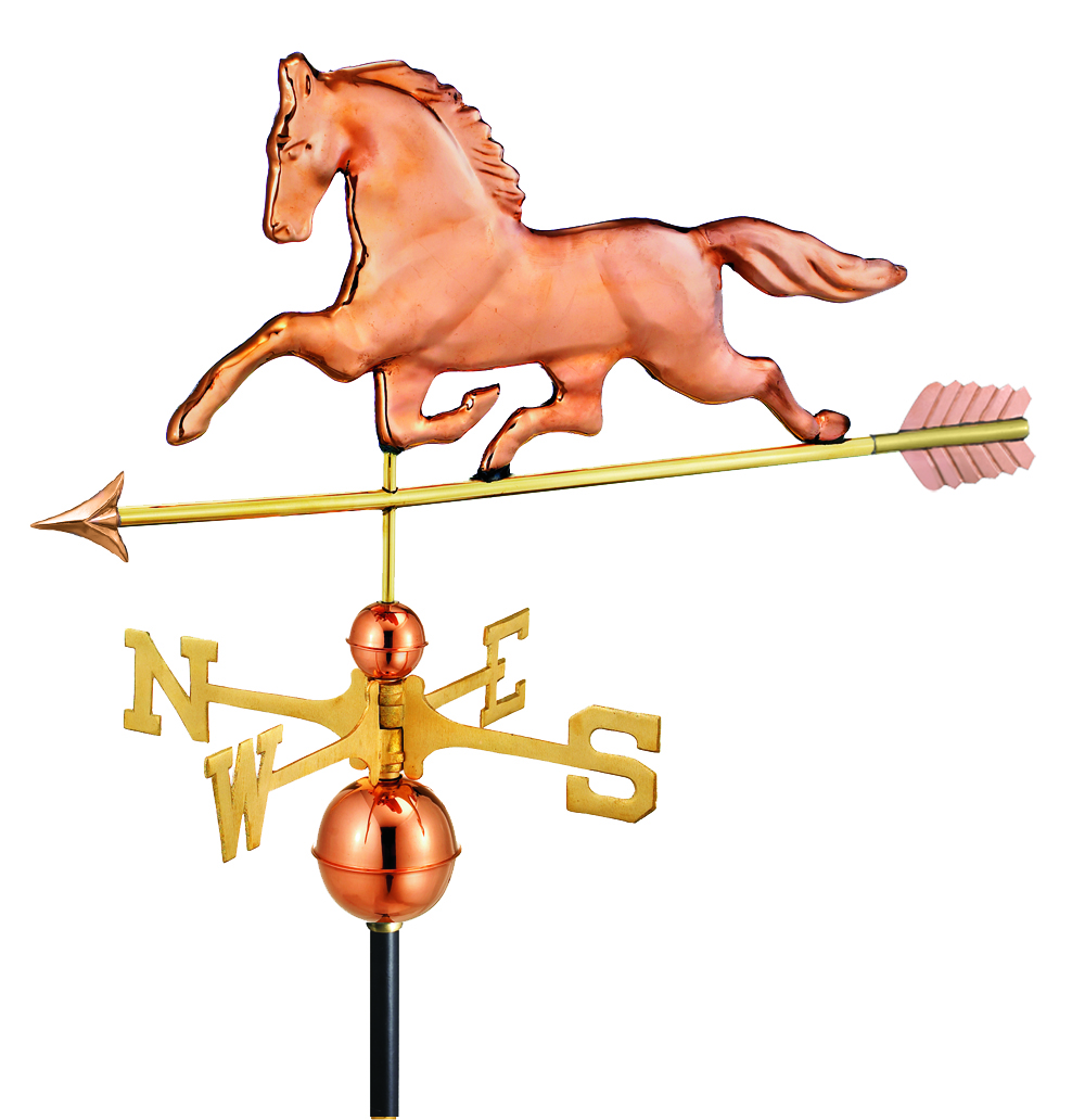 polished copper patchen horse weathervane with arrow