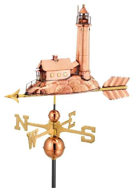 polished copper lighthouse weathervane