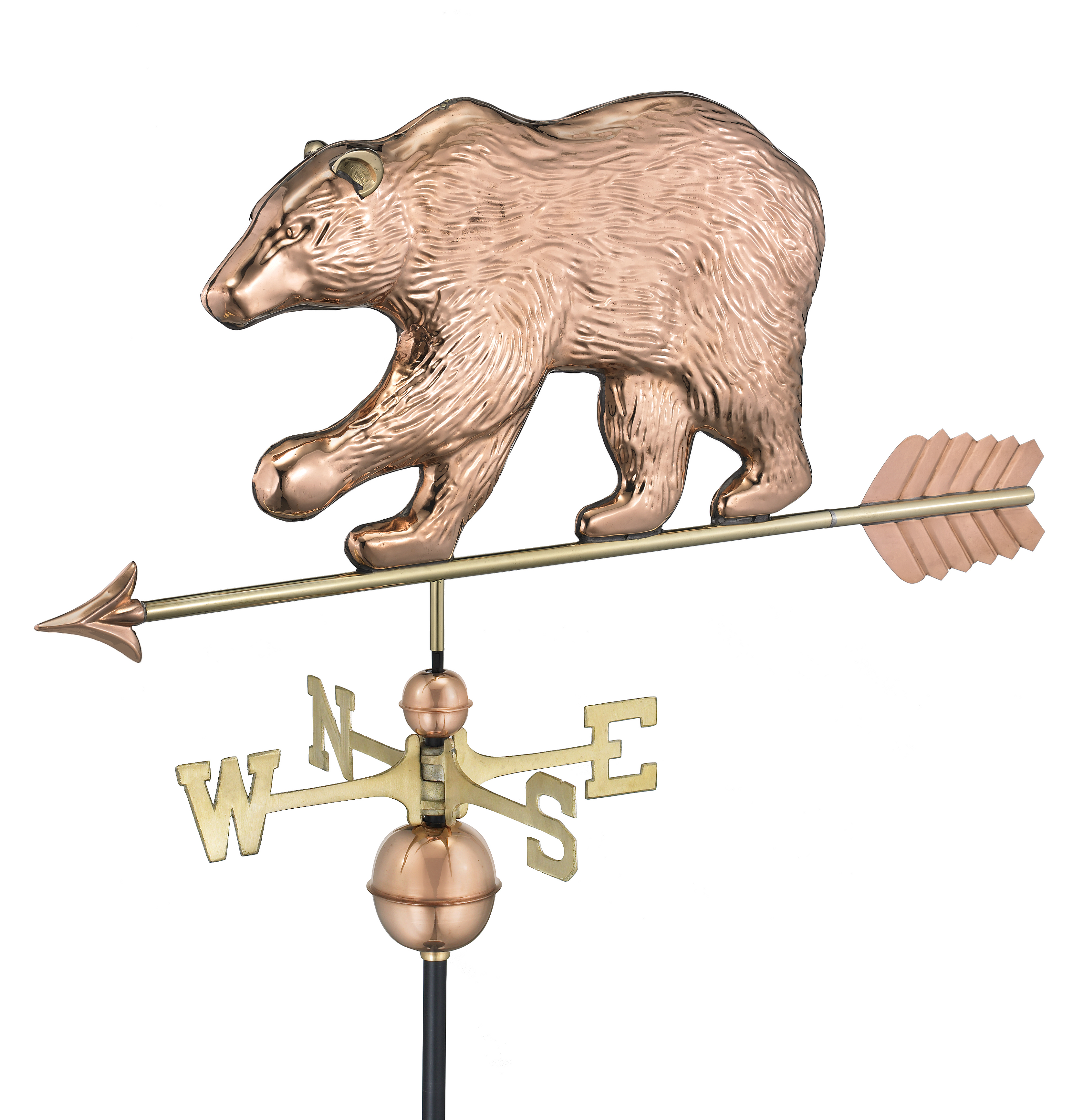 Bear Weathervane with Arrow - Polished Copper (695PA)