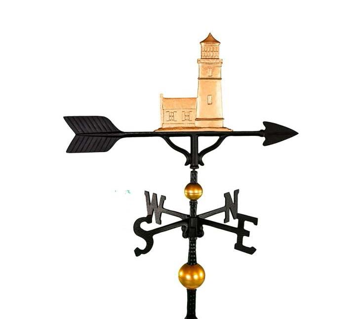 ALUMINUM COTTAGE LIGHTHOUSE WEATHERVANE (WV-392-GB)