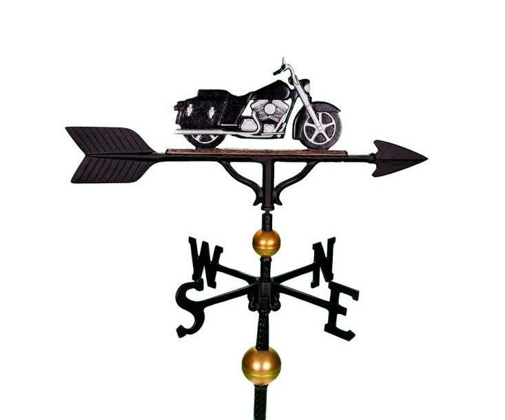 aluminum black & white motorcycle weathervane