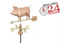 polished copper country pig weathervane with ships within 24 hours logo