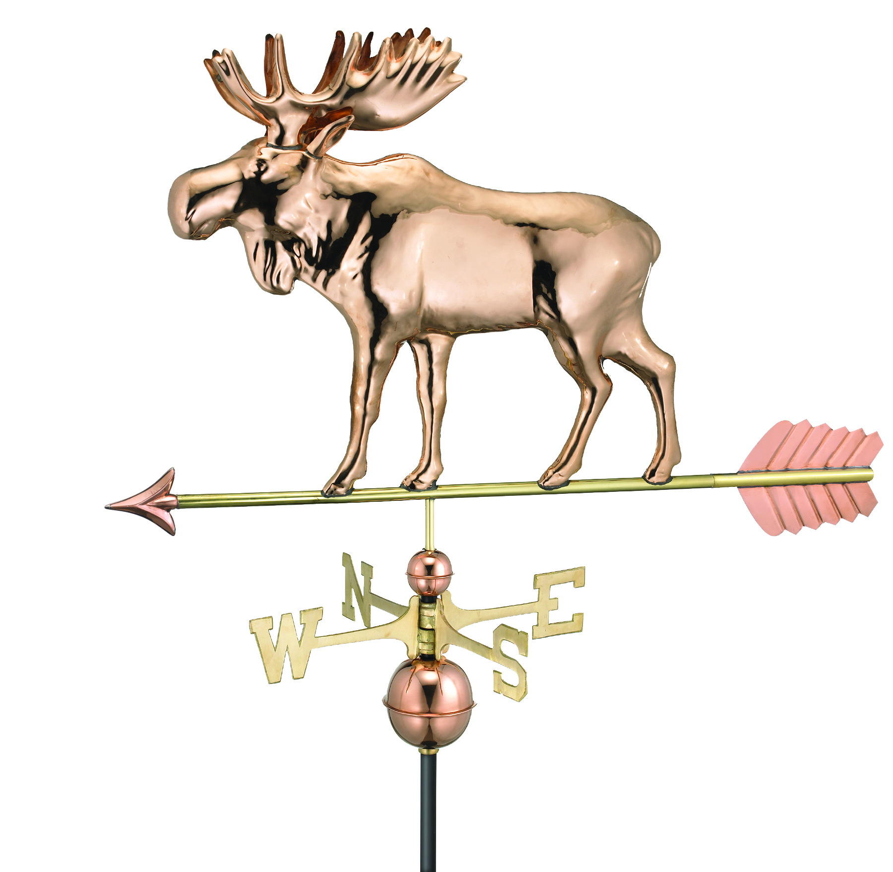 Moose Weathervane with Arrow - Polished Copper (9557PA)