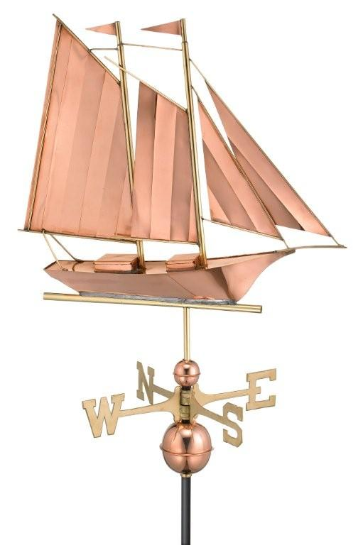 polished copper schooner weathervane