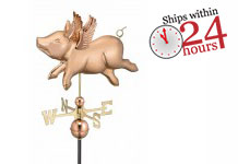Flying Pig Weathervane - Polished Copper (9612P)
