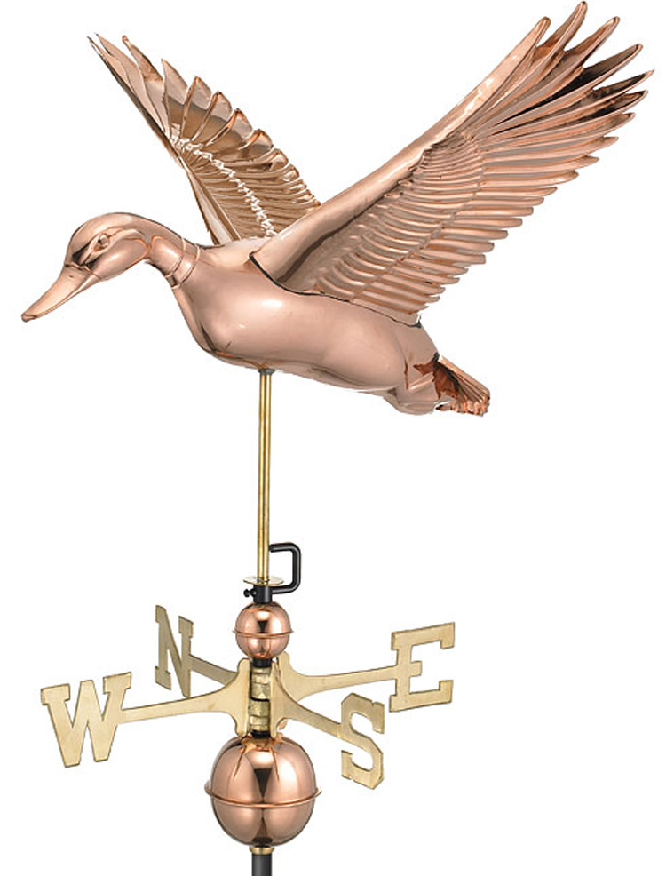 Flying Duck Weathervane - Polished Copper (9613P)