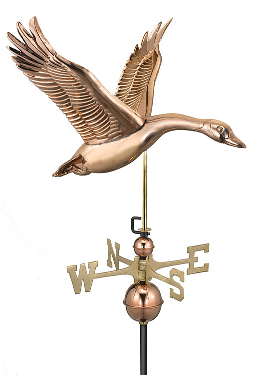 polished copper feathered goose weathervane