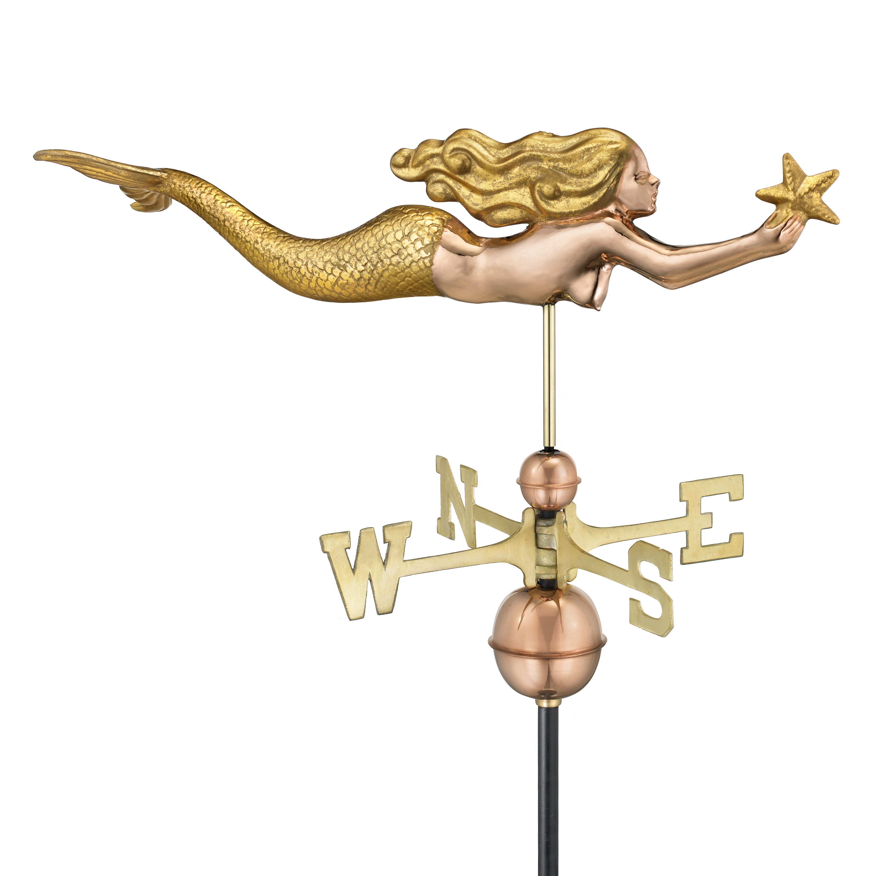 Mermaid with Starfish Weathervane - Gold Leaf Accents (966GL)