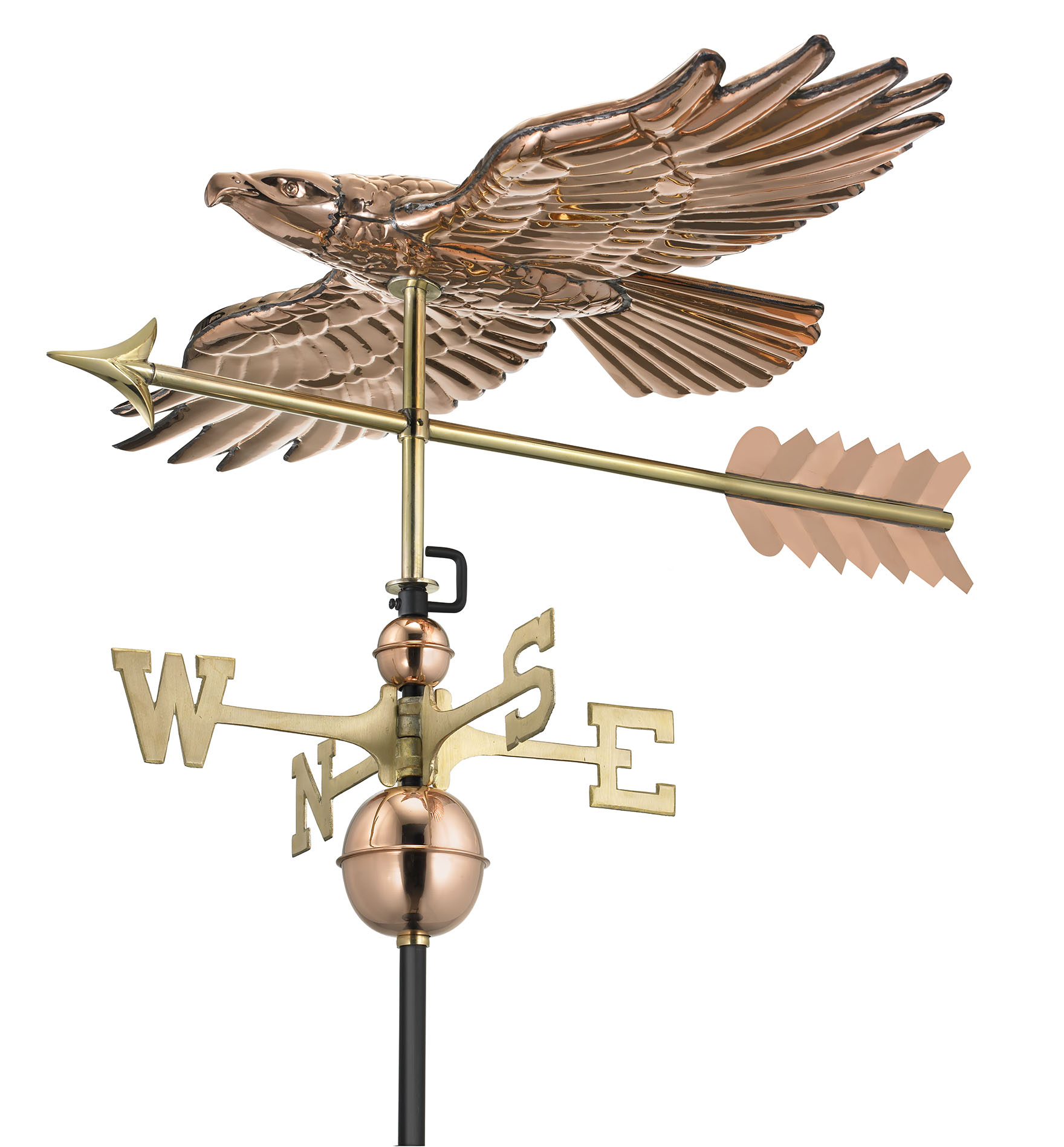 Soaring Hawk with Arrow Weathervane - Polished Copper (9699PA)