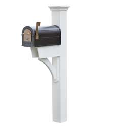 annapolis plus vinyl mailbox post with mailbox on it