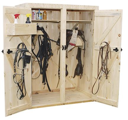 double door harness & saddle combination cabinet (open to show interior)