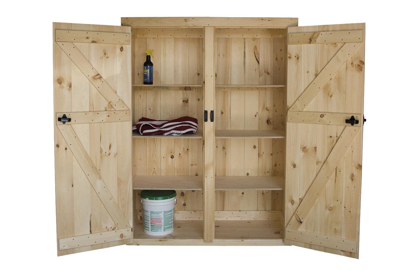 double door cabinet with shelves (open to show interior)