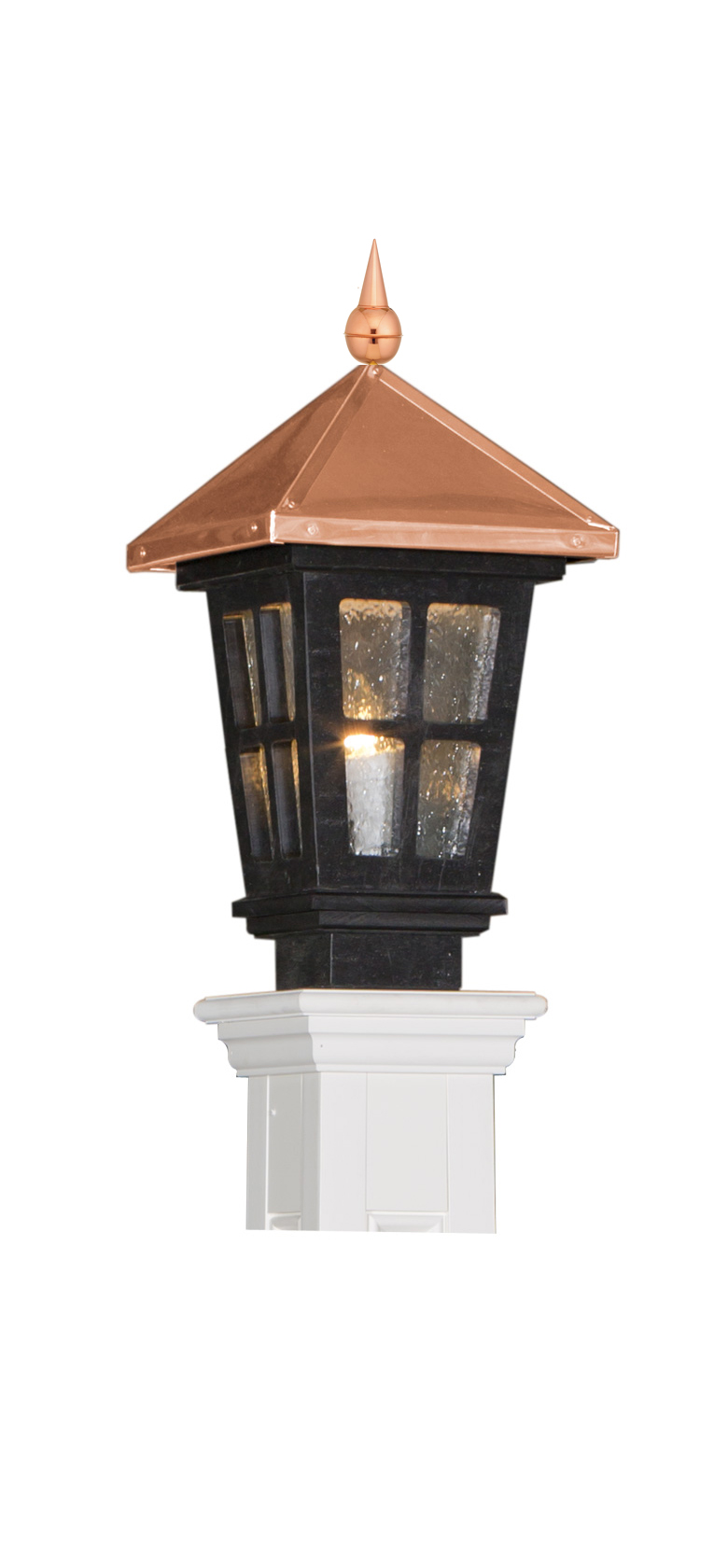 COPPER & BLACK COLONIAL POST LANTERN - LARGE (LNCL-LG-BK)