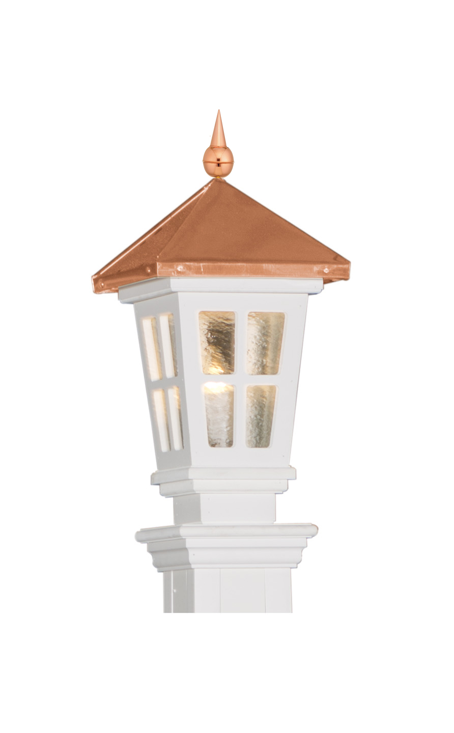 COPPER & VINYL COLONIAL POST LANTERN - LARGE (LNCL-LG)