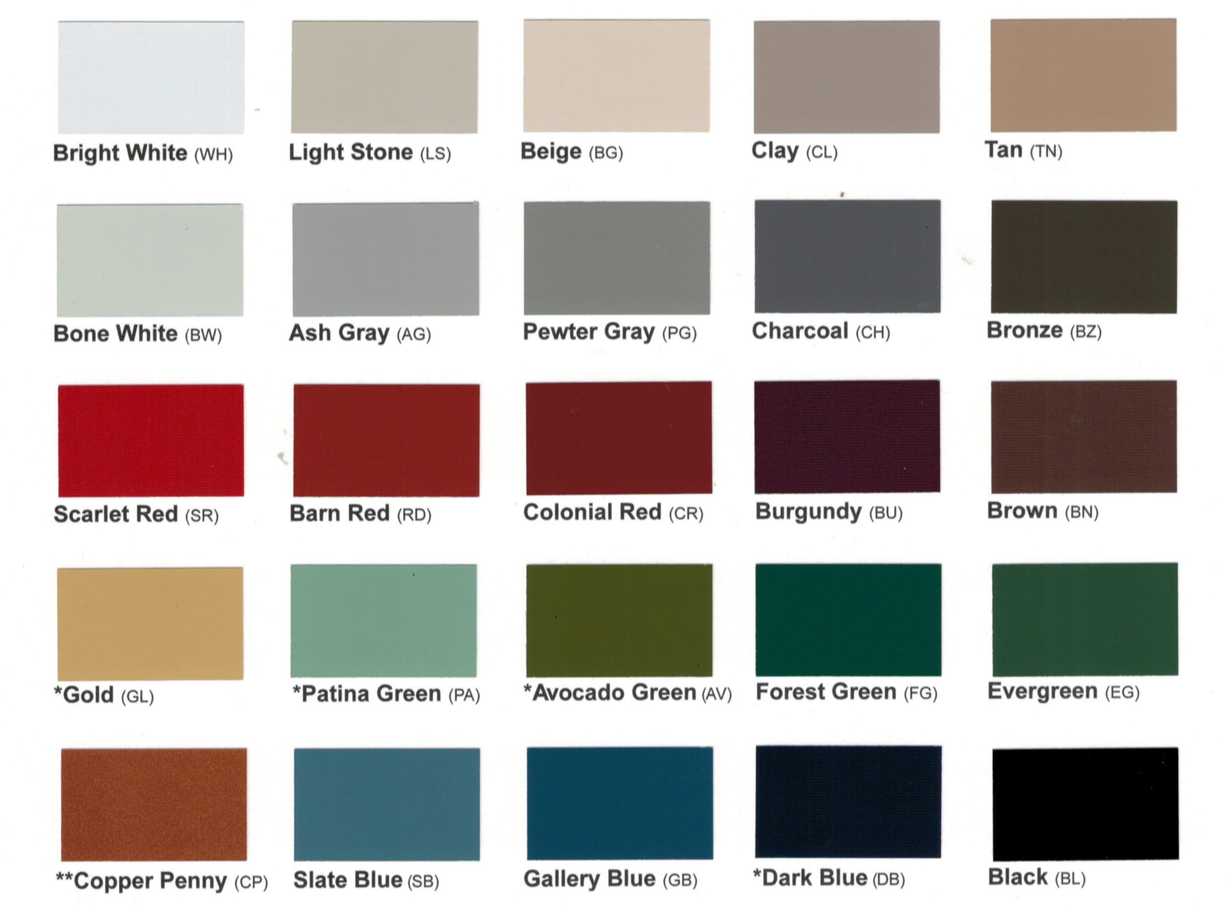 color options for arched milford cupolas (s6mv-a)