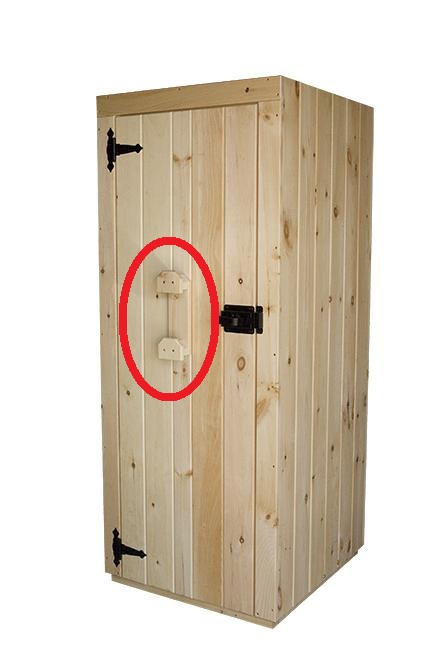 extra rope & halter hook circled in red on a wood door