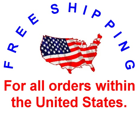 free shipping logo with US flag overlayed a map outline