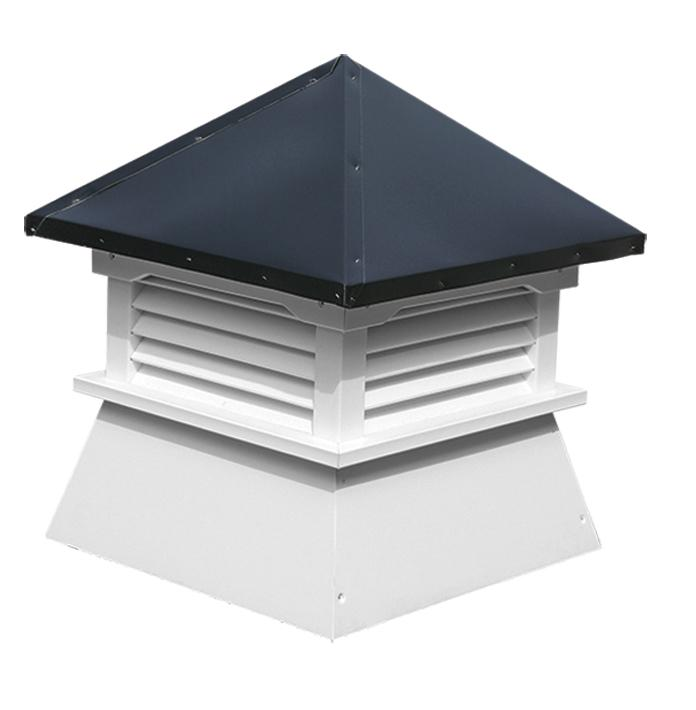 our square stonecrop shed cupola with a terratone bronze roof (GVSLS-A)