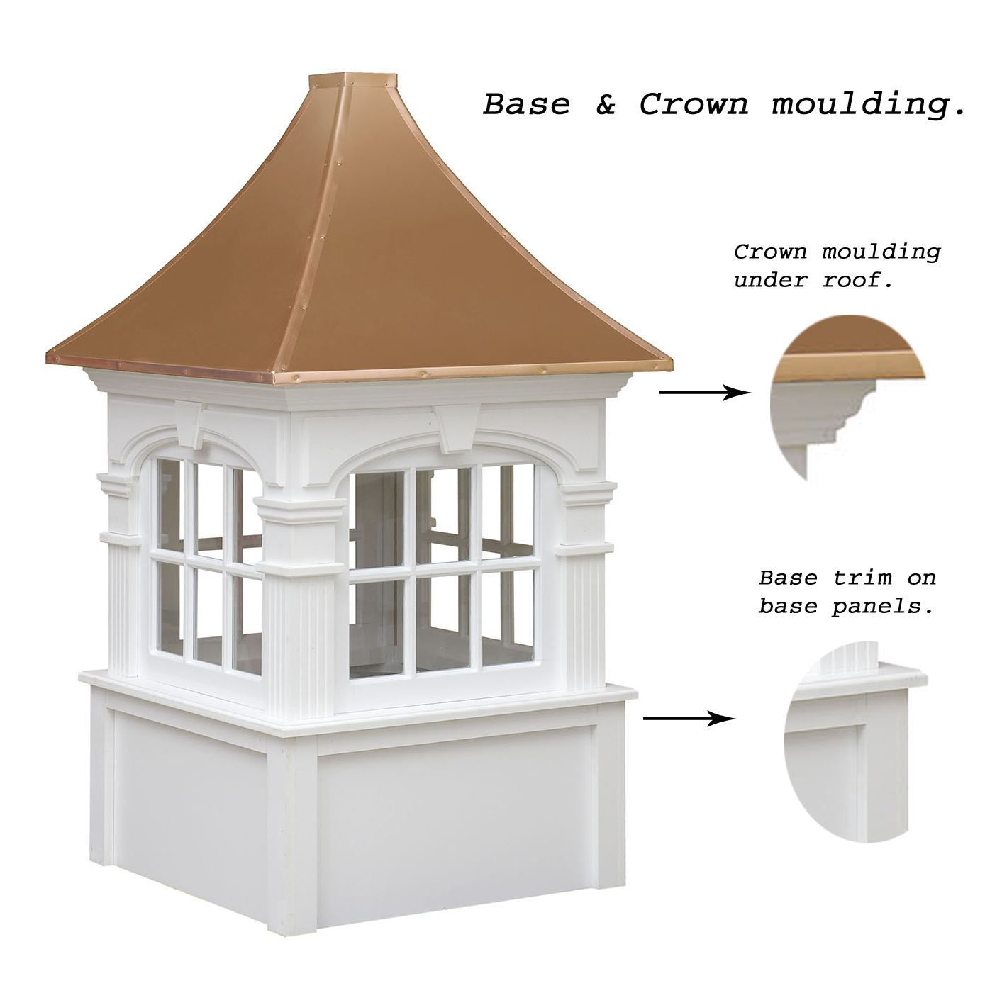 arched ellsworth cupola showcasing crown moulding and base trim