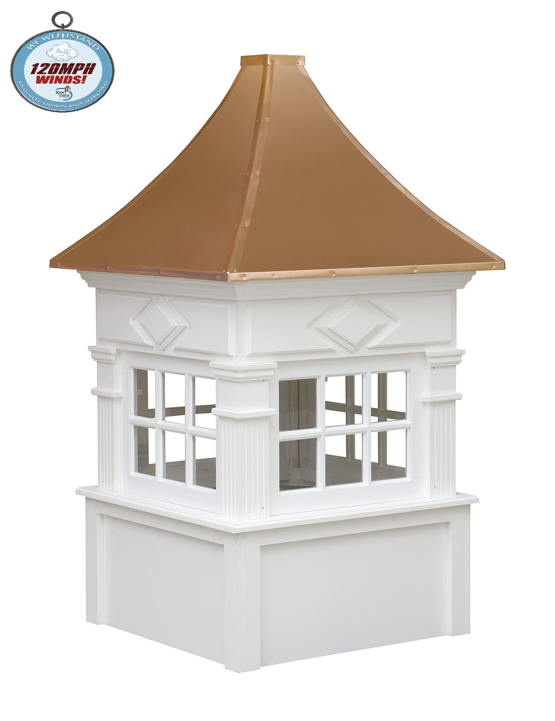 quincy cupola with we withstand 120mph winds logo