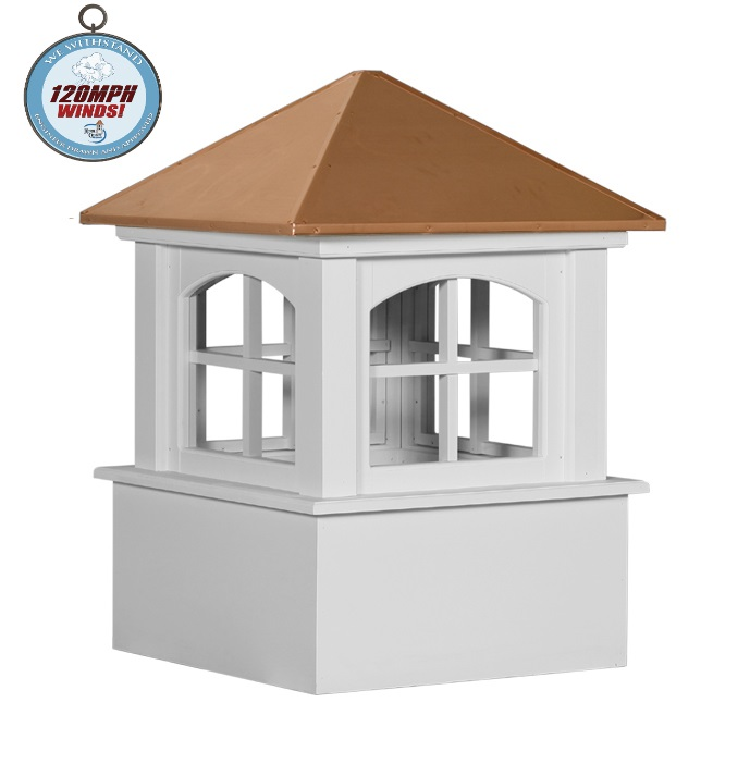 arched ellsworth cupola with we withstand 120mph winds logo