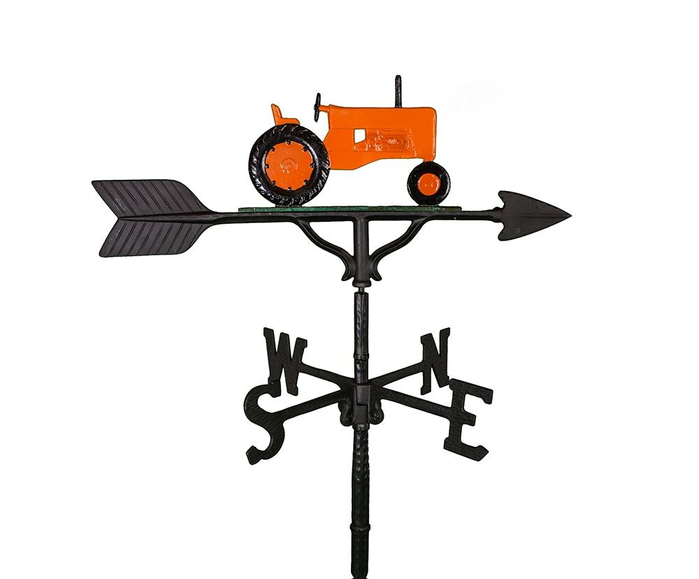 aluminum orange tractor weathervane (wv-250-orc)